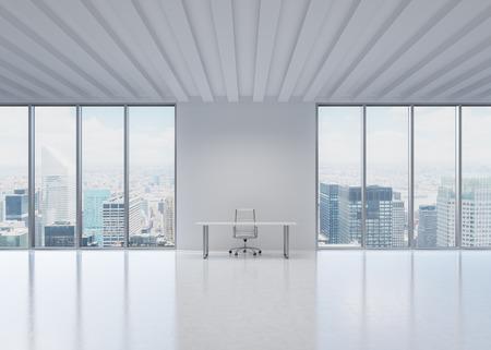 Un lugar de trabajo en una oficina moderna panorámica de la ciudad de Nueva York. Un concepto de los servicios de consultoría financiera y legal.