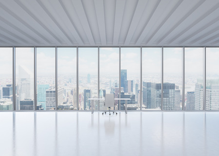 advisers: A workplace in a modern panoramic office in New York City. A concept of the financial consulting services.