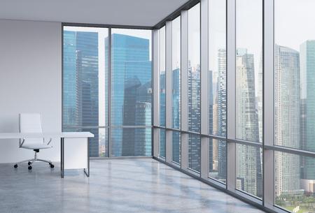 モダンなオフィス パノラマの職場。シンガポールのビジネス地区。金融コンサルティング サービスの概念。