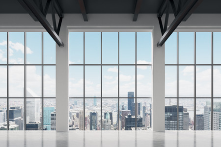 locales comerciales: Espacio de oficina contemporánea con vistas de Nueva York. Un concepto de éxito financiero.