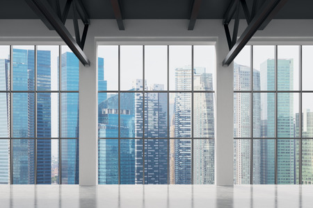 ventana abierta: Oficina contempor�nea con vista Singapur. Centro de la ciudad financiera.