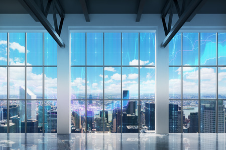 window view: Contemporary office with New York view. Financial charts are drawn over the windows.