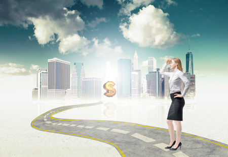 financial market: Full length business lady is standing on the way to the new perspectives in the huge city financial market. A sketch of the New York. Golden dollar sign as a benefit of this way. Stock Photo