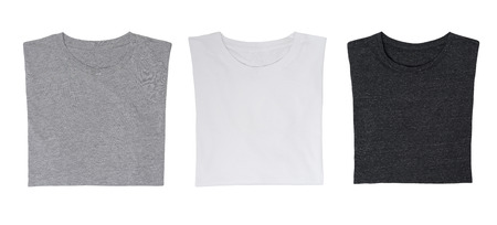 collarless: Close-up of the three t-shirts (black, white and grey). Isolated.