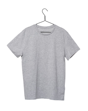 collarless: Close-up of the grey t-shirt on the clothes hanger. Isolated.