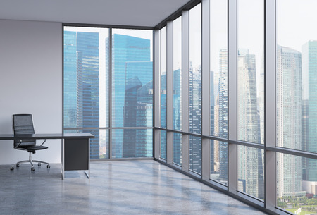 financial concept: A workplace in a modern corner panoramic office in Singapore. A concept of financial consulting services. 3D interior. Stock Photo