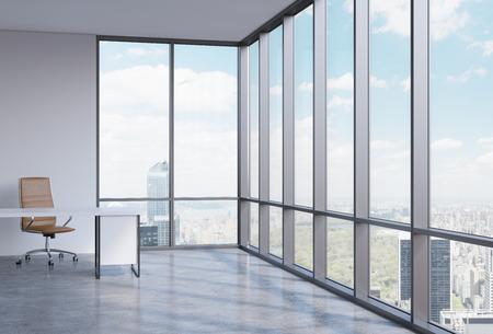 ejecutivo en oficina: Un lugar de trabajo en una oficina panorámica esquina moderna en Manhattan, Nueva York. Un concepto de servicios de consultoría financiera. 3D interior.