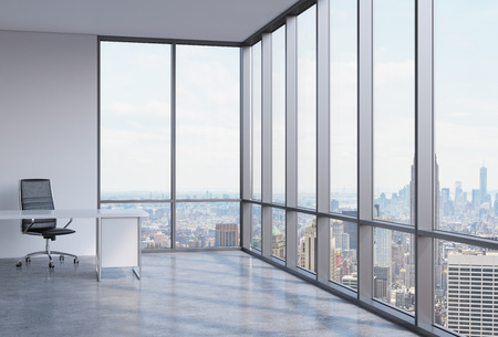 the corner: A workplace in a modern corner panoramic office in New York City. A concept of financial consulting services. 3D interior. Stock Photo