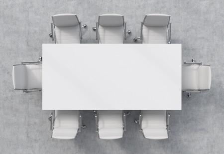 会議室の平面図です。白い長方形のテーブルと 8 つの椅子の周り。3 D のインテリア。