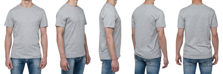 a shirt: Body view of five man in a grey t-shirt. Isolated. Stock Photo