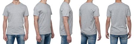 the shirt: Vista del cuerpo de cinco hombres en una camiseta gris. Aislados. Foto de archivo