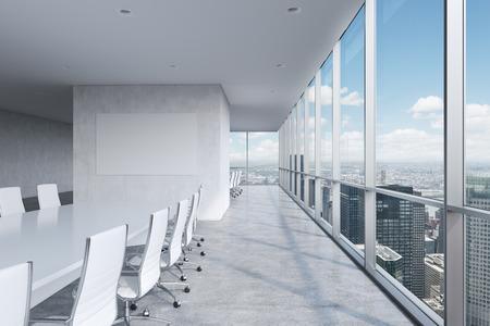 Nowoczesne panoramiczny sala konferencyjna. Biały prostokątny stół i krzesła wokół niego. Widok z Nowego Jorku.