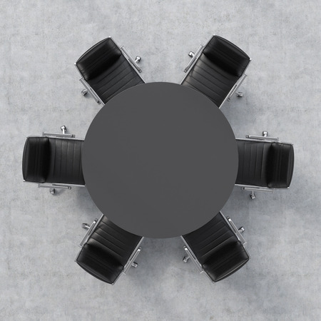 round chairs: Top view of a 3d rendering conference room. A black round table and six chairs around. Office interior.