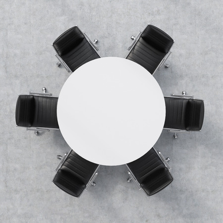 round chairs: Top view of a 3d rendering conference room. A white round table and six chairs around. Office interior.
