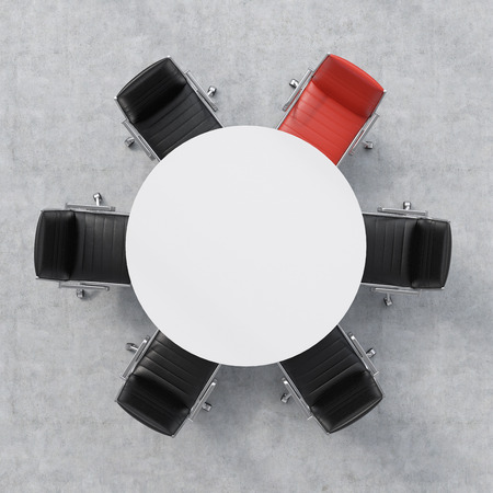 Top view of a 3d rendering conference room. A white round table and six chairs around, one of them is red. Office interior.