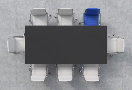Top View of a 3d rendering conference room. A black rectangular table and eight chairs around, one of them is blue. Office interior. Stock Photo
