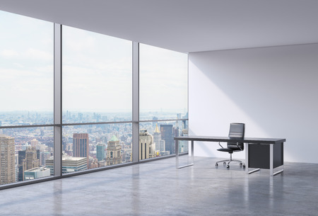 commercial architecture: A workplace in a modern corner panoramic office in New York, Manhattan. A black leather chair and a black table. A concept of financial consulting services. 3D rendering.