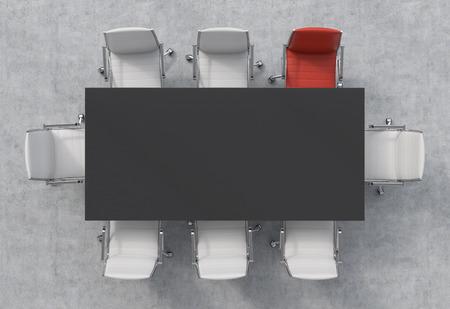 Bovenaanzicht van een 3D-rendering vergaderzaal. Een zwarte rechthoekige tafel en acht stoelen rond, een van hen is rood. Kantoor interieur. Stockfoto