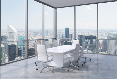 company premises: Panoramic conference room in modern office in New York City. White chairs and a white table. 3D rendering. Stock Photo