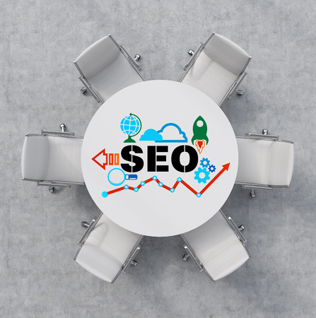 round chairs: Top View of a conference room. A white round table and six white chairs around. Colourful SEO flowchart is drawn on the table surface. Office interior. 3D rendering.