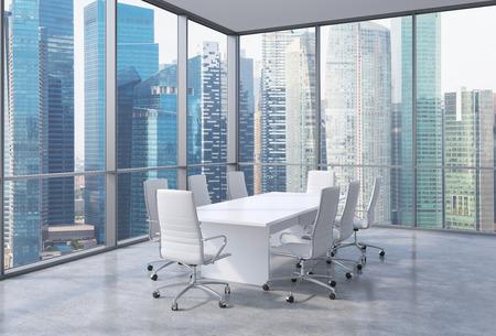 近代的なオフィス、シンガポール金融領域ビューのパノラマ コーナー会議室。白い椅子と白いテーブル。3 D レンダリング。