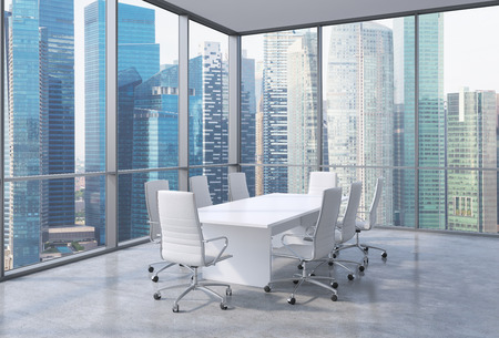 Panoramic corner conference room in modern office, Singaporean financial area view. White chairs and a white table. 3D rendering.