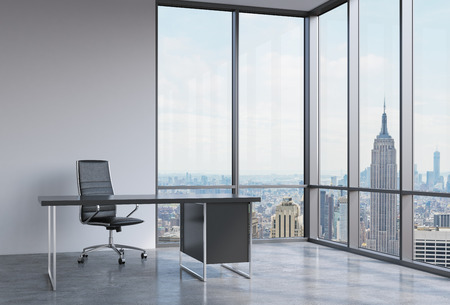 panoramic windows: A workplace in a modern corner panoramic office in New York, Manhattan. A black leather chair and a black table. A concept of financial consulting services. 3D rendering.