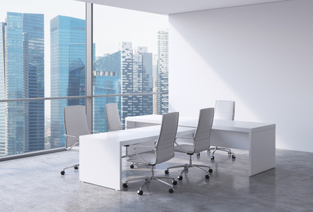 Modern office interior with huge windows and Singapore panoramic view. White leather on the chairs and a white table. A concept of CEO workplace. 3D rendering.