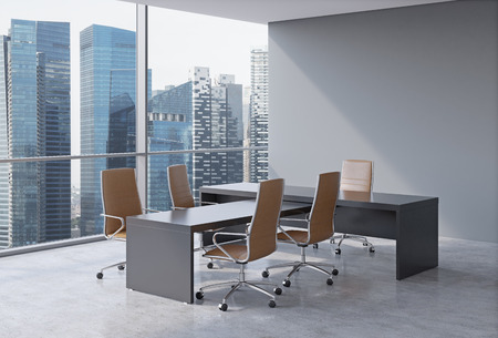 office window view: Modern office interior with huge windows and skyscraper panoramic view. Brown leather on the chairs and a black table. A concept of CEO workplace. 3D rendering.
