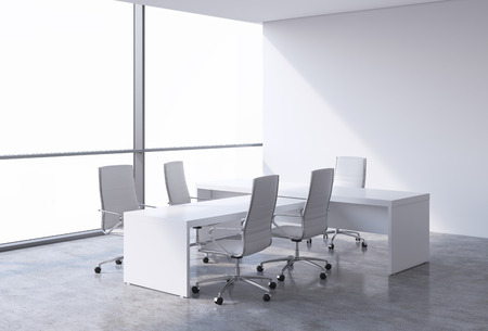 cope: Modern office interior with huge windows and cope space panoramic view. White leather on the chairs and a white table. A concept of CEO workplace. 3D rendering.