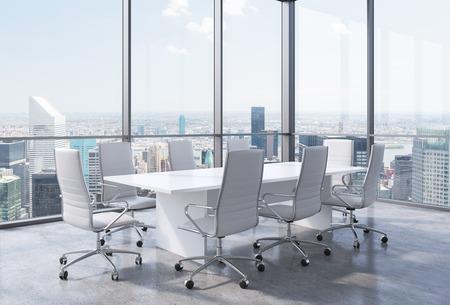 ニューヨーク市の近代的なオフィスにパノラマ コーナー会議室。白い椅子と白いテーブル。3 D レンダリング。 写真素材