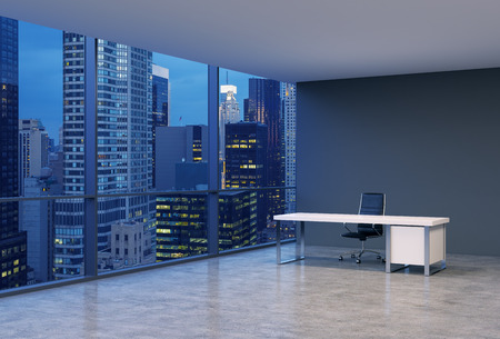 brokerage: A workplace in a modern corner panoramic office with New York evening view. A black leather chair and a white table. A concept of financial consulting services. 3D rendering.