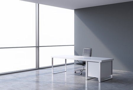 austere: A workplace in a modern corner panoramic office, copy space on windows. A concept of financial consulting services. 3D rendering. Stock Photo