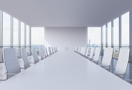 Panoramische zaal in het moderne kantoor in New York City. Witte stoelen en een witte tafel. 3D-rendering.