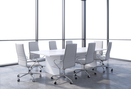 conference room meeting: Panoramic conference room in modern office, copy space view from the windows. White chairs and a white table. 3D rendering. Stock Photo