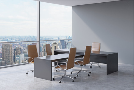 affluence: Modern office interior with huge windows and New York panoramic view. Brown leather on the chairs and a black table. A concept of CEO workplace. 3D rendering.