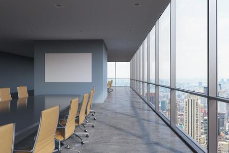 Panoramische zaal in het moderne kantoor in New York City. Brown stoelen en een zwarte tafel. 3D-rendering.
