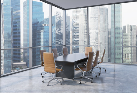 chairs: Panoramic conference room in modern office in Singapore. Brown chairs and a black table. 3D rendering. Stock Photo