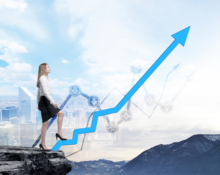 new opportunity: Full length beautiful woman in formal clothes on the rock is going up along the growing arrow. Financial charts and New York panoramic view on the background.