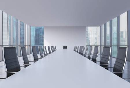 Panoramic conference room in modern office, Singapore view. Black leather chairs and a white table. 3D rendering.