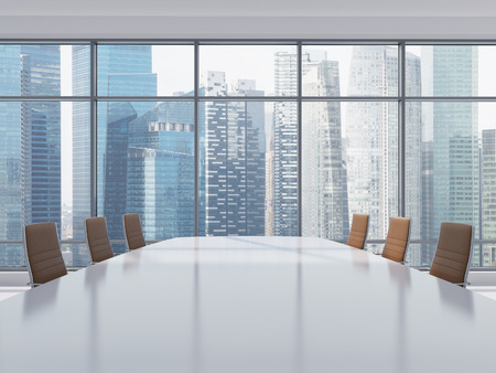decisionmaking: Panoramic conference room in modern office in Singapore. Brown leather chairs and a table. 3D rendering.