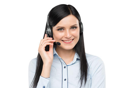 attractive people: Portrait of smiling cheerful support phone operator in headset. Isolated.