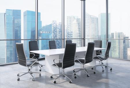 Panoramische zaal in het moderne kantoor in Singapore. Zwarte stoelen en een witte tafel. 3D-rendering. Stockfoto