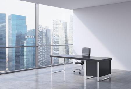 ejecutivo en oficina: Un lugar de trabajo en una oficina moderna panorámica, Singapur vista de centro de negocios de las ventanas. Un concepto de servicios de consultoría financiera. Representación 3D.