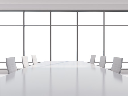 decisionmaking: Panoramic conference room in modern office, copy space view from the windows. white leather chairs and a white table. 3D rendering.