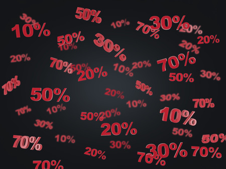 markdown: The concept of the black Friday, discount and sale. Collection of discount numbers 10% 20% 30% 50% 70%. Black background.