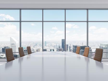 decoracion mesas: Sala de conferencias panor�mica en la oficina moderna en la ciudad de Nueva York. Sillas de cuero marr�n y una mesa. Representaci�n 3D. Foto de archivo