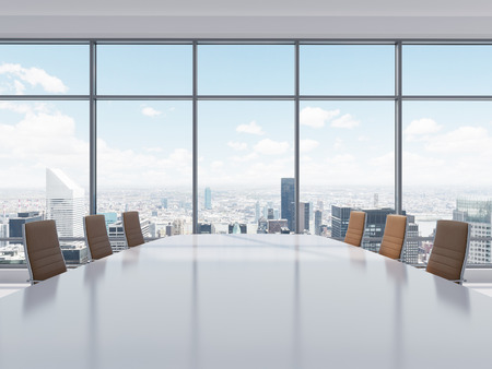 Panoramic conference room in modern office in New York City. Brown leather chairs and a table. 3D rendering.