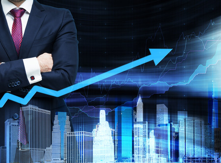 councilor: Close up of the businessman with crossed hands. Growing arrow as a concept of the success. Hologram cityscape on the front view and forex chart on background.