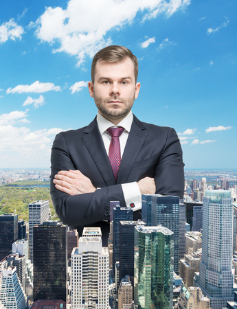 austere: Close up of the transparent businessman and New York panoramic view.